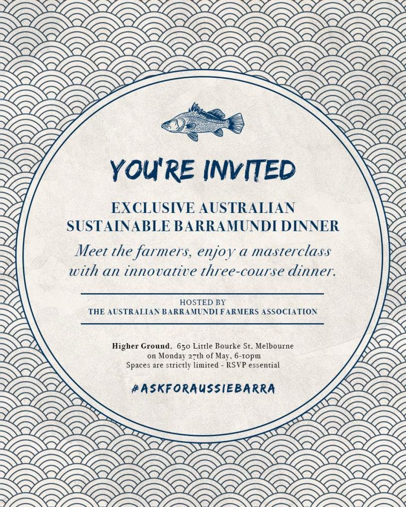 Invitation design Australian Barramundi Farmers Association dinner in Melboune