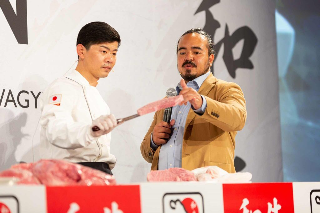 Japanese Wagyu Event in Sydney, Chef displaying Wagyu beef on knife to audience