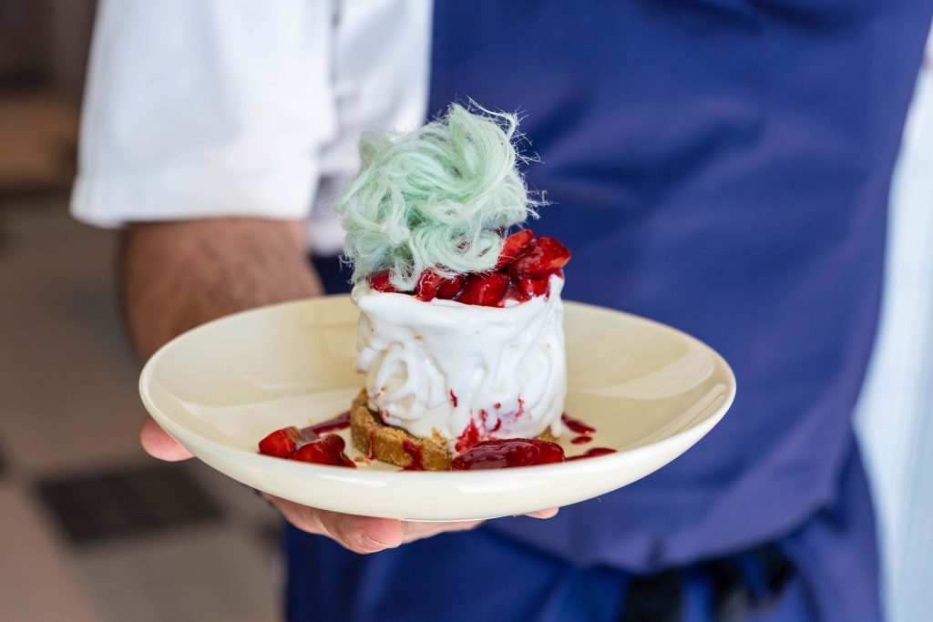 Social Media Marketing Photography Chef holding Eton Mess at Ambarvale Hotel