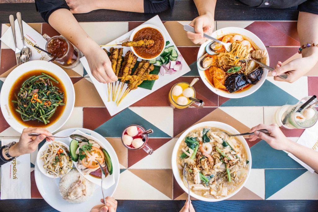 relaunch pr of new eating are at castle hills, flatlay of thai food from above for media