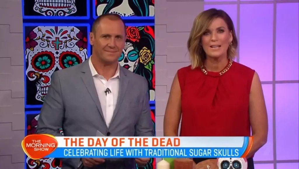 Still from our Public relations with channel 7s morning show hosts during the day of the dead segment