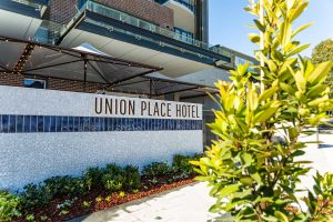 Hospitality Launch of the Union Place Hotel, photo taken from front of refurbished building