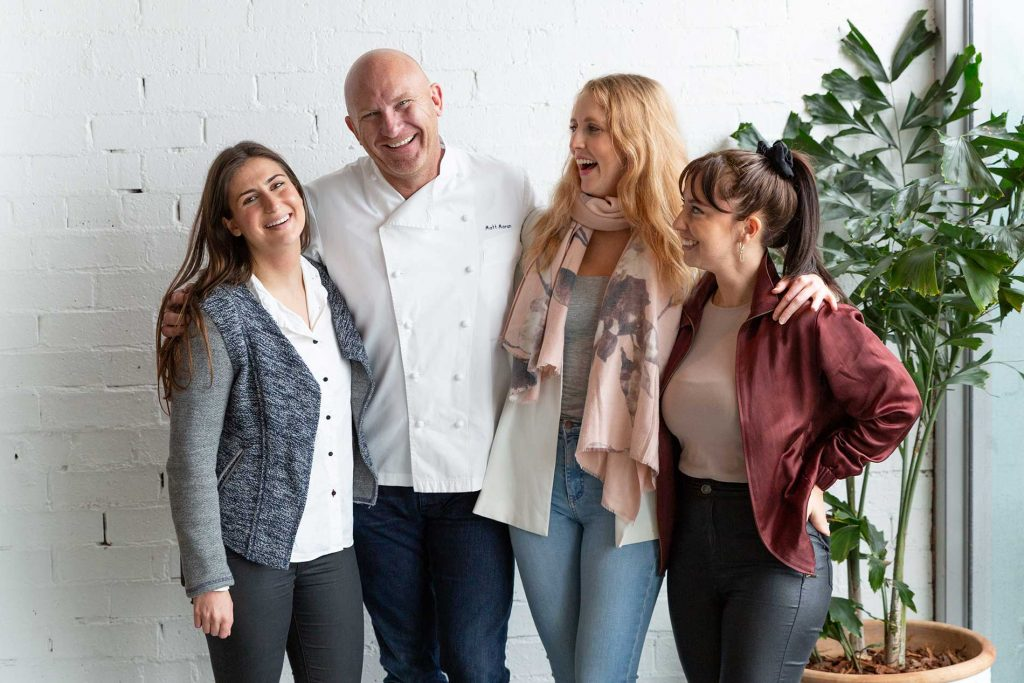 The papaya team poses with Matt moran for the media event campaign
