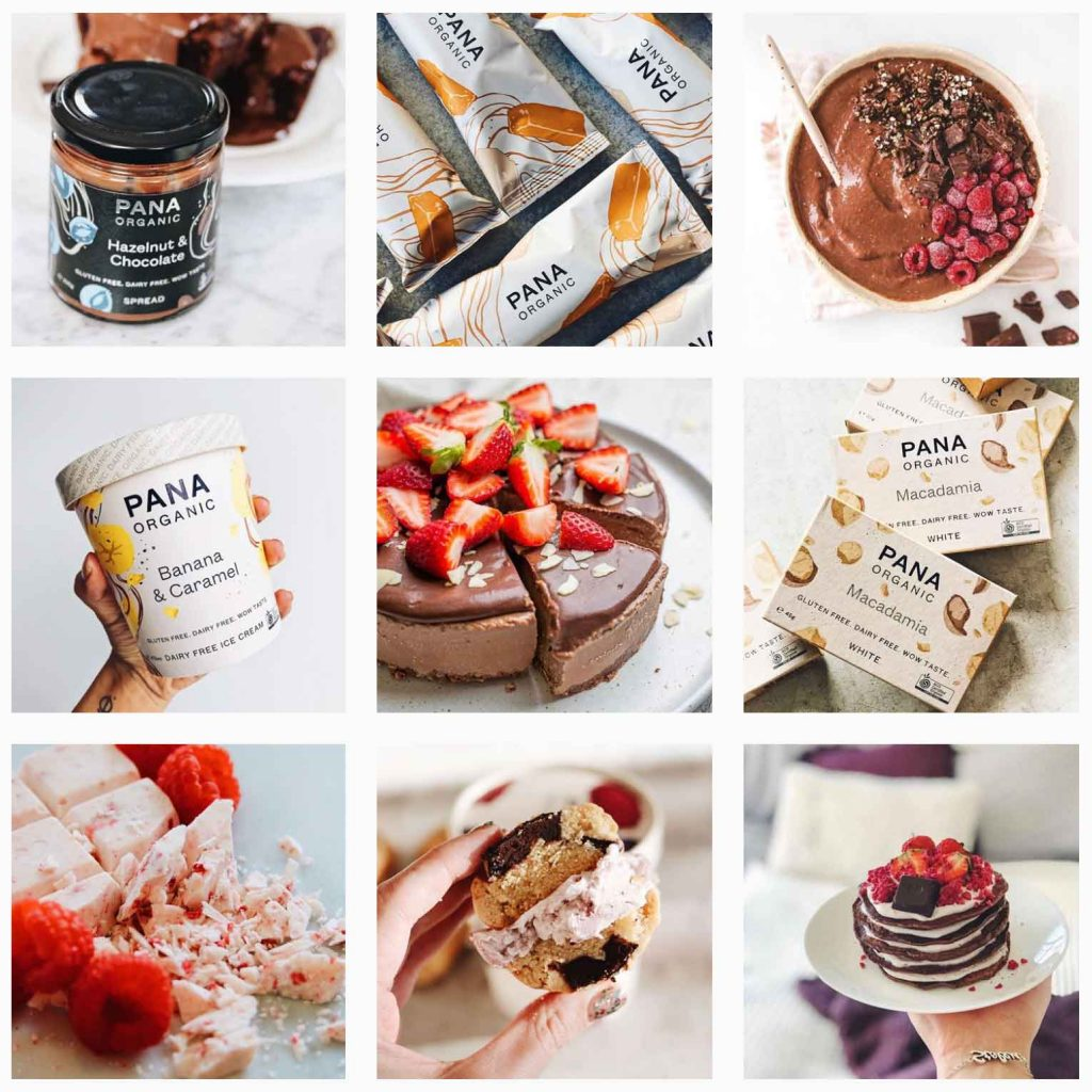 example of pana chocolate instagram feed with images of what will be a food trend, vegan ice cream