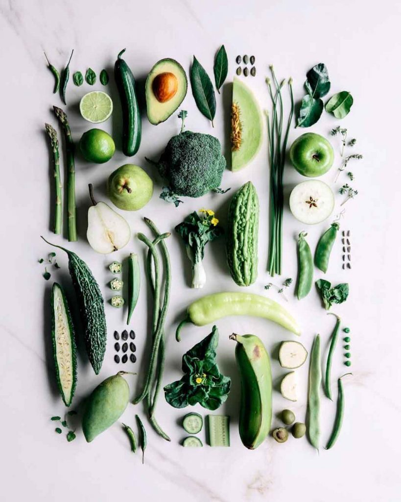 Gather and feast image of green vegetables flat
